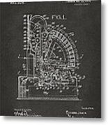 1910 Cash Register Patent Gray Metal Print