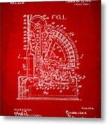1910 Cash Register Patent Red Metal Print