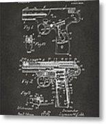 1911 Automatic Firearm Patent Artwork - Gray Metal Print