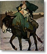 1913 Jugend Art Print Woman Riding Dunkey Suckling Baby Hard Tim Metal Print