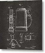 1914 Beer Stein Patent Artwork - Gray Metal Print