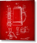 1914 Beer Stein Patent Artwork - Red Metal Print by Nikki Marie Smith