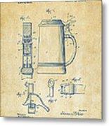 1914 Beer Stein Patent Artwork - Vintage Metal Print