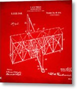 1914 Wright Brothers Flying Machine Patent Red Metal Print