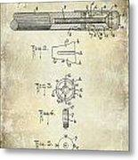 1915 Billiard Cue Patent Drawing  Metal Print