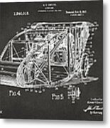 1917 Glenn Curtiss Aeroplane Patent Artwork 3 - Gray Metal Print
