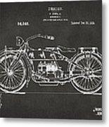 1919 Motorcycle Patent Artwork - Gray Metal Print