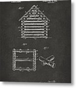 1920 Lincoln Log Cabin Patent Artwork - Gray Metal Print by Nikki Marie Smith