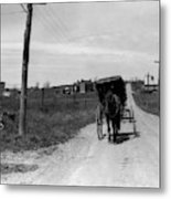 1920s 1930s Amish Man Driving Buggy Metal Print