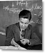1920s 1930s Boy At Desk In Classroom Metal Print