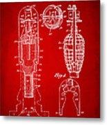 1921 Explosive Missle Patent Minimal Red Metal Print
