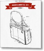 1921 Trout Basket Patent Drawing - Red Metal Print