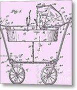 1922 Baby Carriage Patent Art Pink Metal Print