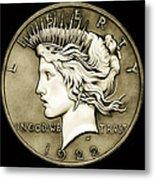 1922 Circulated Peace Dollar Metal Print