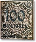 1923 100 Million Mark German Stamp Metal Print
