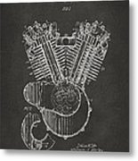 1923 Harley Engine Patent Art - Gray Metal Print