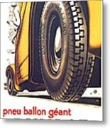 1924 - Dunlop Tires French Advertisement Poster - Color Metal Print