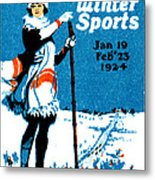 1924 Montreal Winter Sports Poster Metal Print