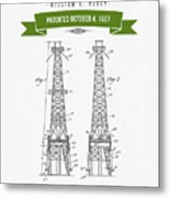 1927 Oil Well Rig Patent Drawing - Retro Green Metal Print