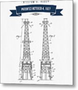 1927 Oil Well Rig Patent Drawing - Retro Navy Blue Metal Print