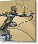 1928 Pierce Arrow Helmeted Archer Hood Ornament Metal Print