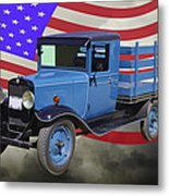 1929 Blue Chevy Truck And American Flag Metal Print