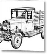 1929 Chevy Truck 1 Ton Stake Body Drawing Metal Print