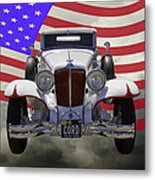 1929 Cord 6-29 Cabriolet Antique Car With American Flag Metal Print