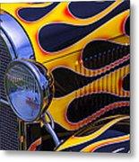 1929 Model A 2 Door Sedan With Flames Metal Print