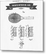 1929 Tennis Racket Patent Drawing - Retro Gray Metal Print