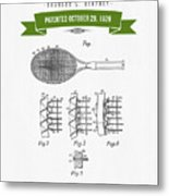 1929 Tennis Racket Patent Drawing - Retro Green Metal Print