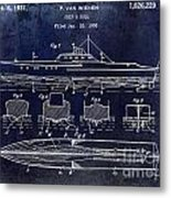 1930 Ship's Hull Patent Drawing Blue Metal Print