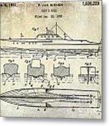 1930 Ship's Hull Patent Drawing Metal Print