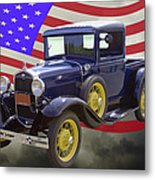 1930 Model A Ford Pickup Truck And American Flag Metal Print