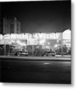 1930s New And Used Car Lot At Night Metal Print