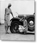 1930s Two Women Confront An Automobile Metal Print