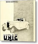 1931 - Unic 8 French Automobile Advertisement Metal Print