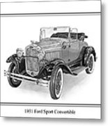 1931 Ford Convertible Metal Print by Jack Pumphrey