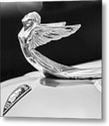 1933 Plymouth Hood Ornament -0121bw Metal Print