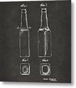 1934 Beer Bottle Patent Artwork - Gray Metal Print