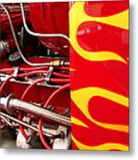Hot Rod Art Work And Engine Metal Print