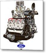1934 Ford Flathead V 8  Metal Print