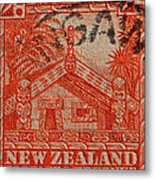 1935 Carved Maori House New Zealand Stamp Metal Print
