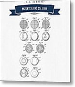 1935 India Rubber Ball Patent Drawing - Retro Navy Blue Metal Print