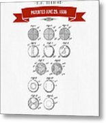 1935 India Rubber Ball Patent Drawing - Retro Red Metal Print