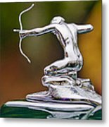 1935 Pierce-arrow 845 Coupe Hood Ornament Metal Print by Jill Reger