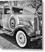1936 Chevrolet Pick Up Truck Painted Bw   Metal Print