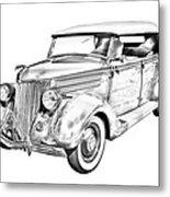 1936 Ford Phaeton Convertible Illustration  Metal Print