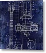 1937 Gibson Electric Guitar Patent Drawing Blue Metal Print