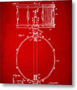 1939 Snare Drum Patent Red Metal Print